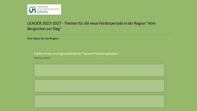 Online-Umfrage zu Themen und Ideen für eine neue Förderperiode